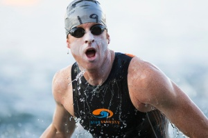 Doug MacLean during the swim turnaround and halfway mark at Ironman Coeur d'Alene on June 28, 2015 in Coeur d'Alene, ID.